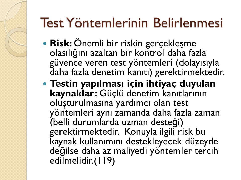 Test Yöntemlerinin Belirlenmesi
