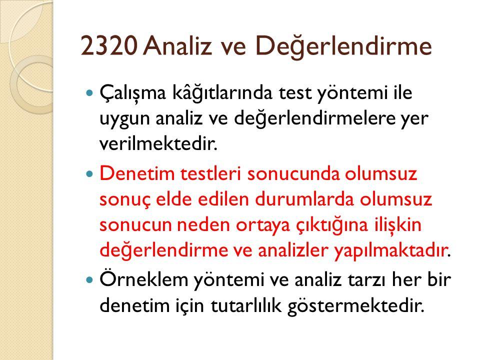 2320 Analiz ve Değerlendirme