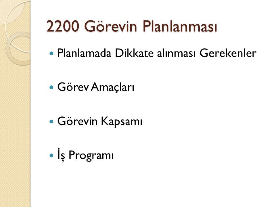 2200 Görevin Planlanması Planlamada Dikkate alınması Gerekenler