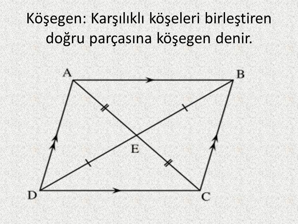 Köşegen: Karşılıklı köşeleri birleştiren doğru parçasına köşegen denir.