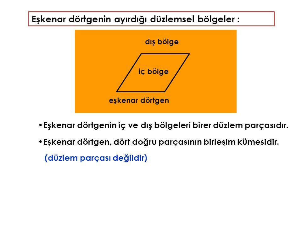 Eşkenar dörtgenin ayırdığı düzlemsel bölgeler :