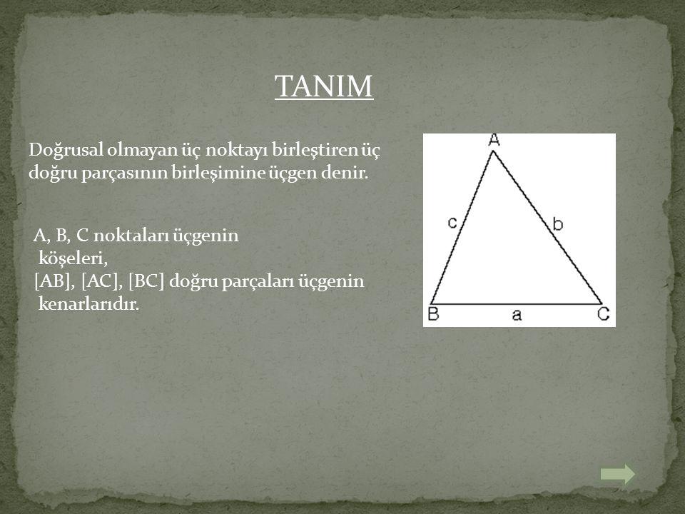 TANIM Doğrusal olmayan üç noktayı birleştiren üç doğru parçasının birleşimine üçgen denir. A, B, C noktaları üçgenin.