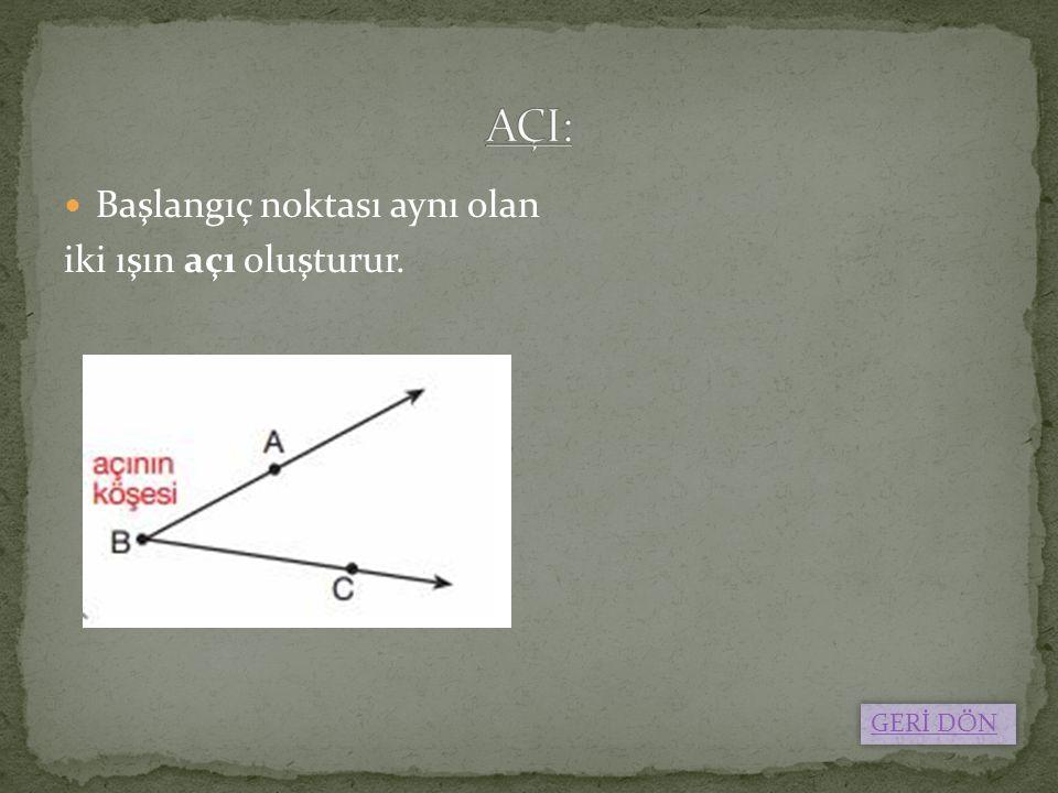 AÇI: Başlangıç noktası aynı olan iki ışın açı oluşturur. GERİ DÖN
