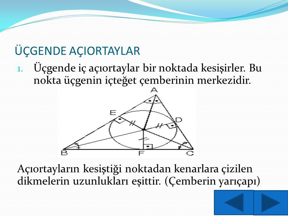 ÜÇGENDE AÇIORTAYLAR Üçgende iç açıortaylar bir noktada kesişirler. Bu nokta üçgenin içteğet çemberinin merkezidir.