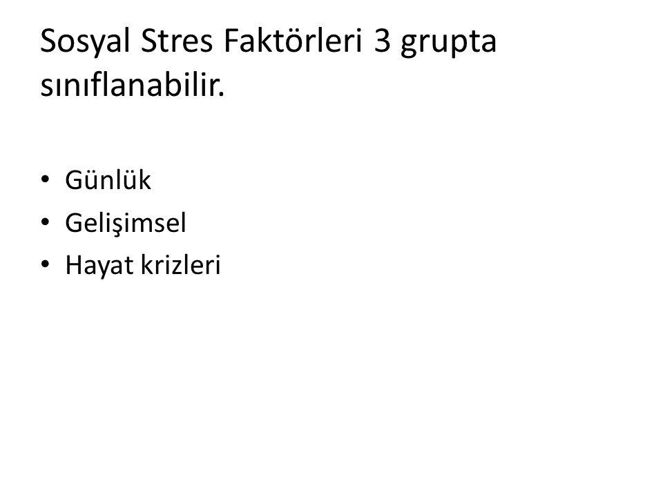 Sosyal Stres Faktörleri 3 grupta sınıflanabilir.