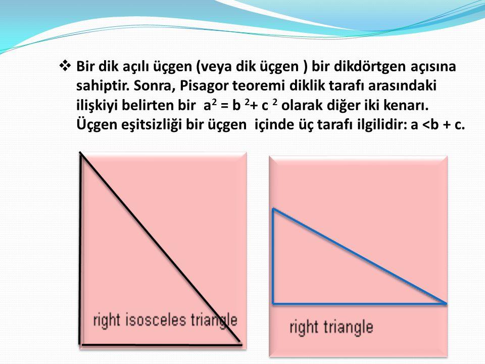 Bir dik açılı üçgen (veya dik üçgen ) bir dikdörtgen açısına sahiptir