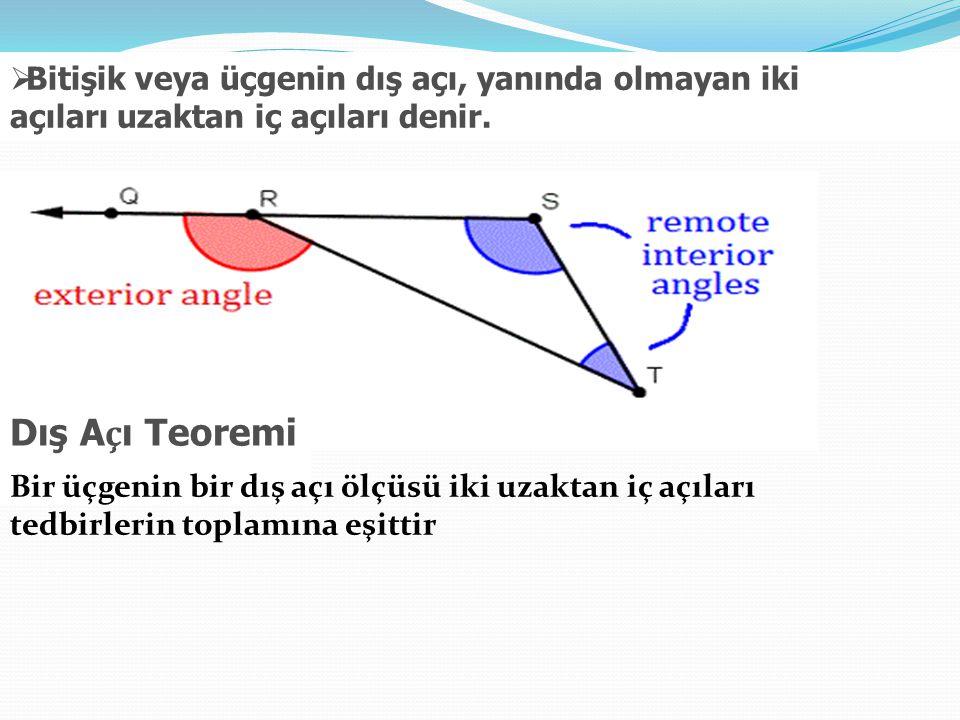 Bitişik veya üçgenin dış açı, yanında olmayan iki açıları uzaktan iç açıları denir.