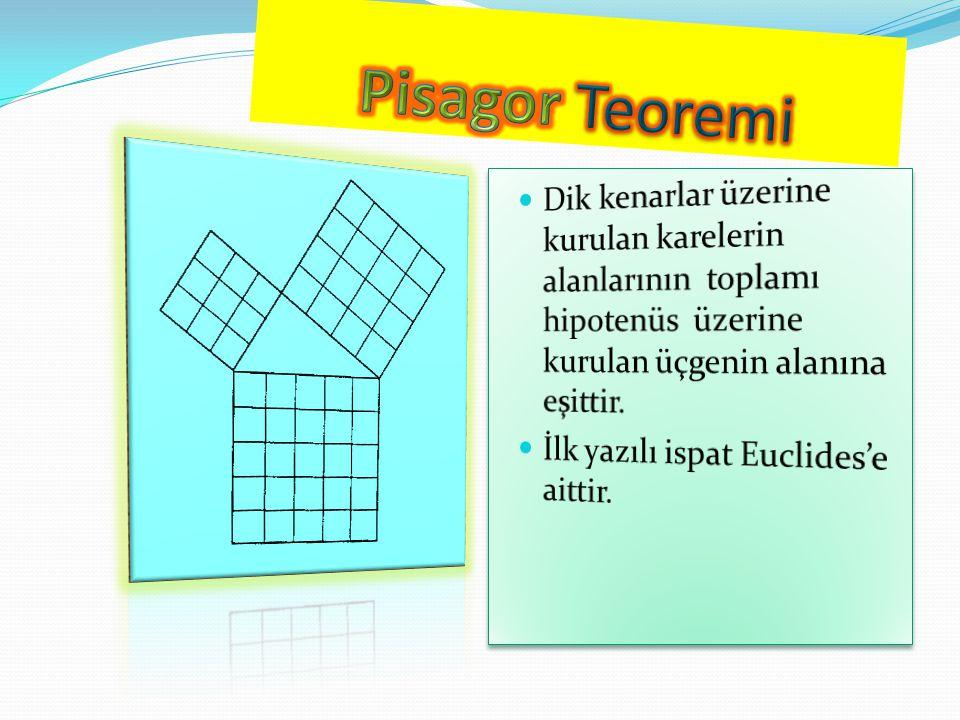 Pisagor Teoremi Dik kenarlar üzerine kurulan karelerin alanlarının toplamı hipotenüs üzerine kurulan üçgenin alanına eşittir.