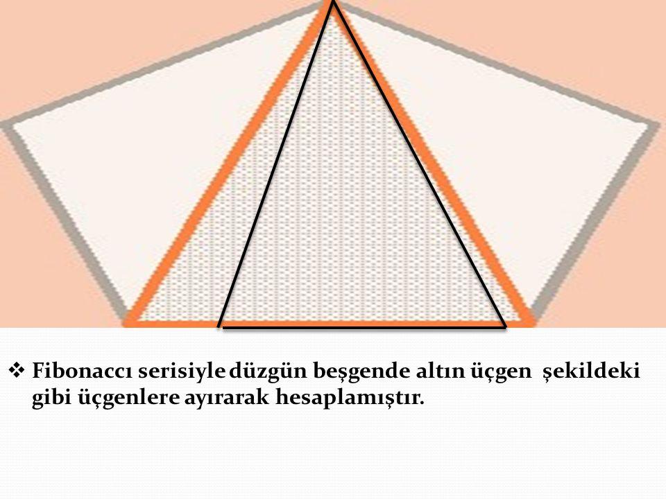 Fibonaccı serisiyle düzgün beşgende altın üçgen şekildeki gibi üçgenlere ayırarak hesaplamıştır.