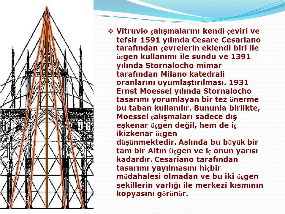 Vitruvio çalışmalarını kendi çeviri ve tefsir 1591 yılında Cesare Cesariano tarafından çevrelerin eklendi biri ile üçgen kullanımı ile sundu ve 1391 yılında Stornalocho mimar tarafından Milano katedrali oranlarını uyumlaştırılması. 1931 Ernst Moessel yılında Stornalocho tasarımı yorumlayan bir tez önerme bu taban kullanılır. Bununla birlikte, Moessel çalışmaları sadece dış eşkenar üçgen değil, hem de iç ikizkenar üçgen düşünmektedir. Aslında bu büyük bir tam bir Altın Üçgen ve iç onun yarısı kadardır. Cesariano tarafından tasarımı yayılmasını hiçbir müdahalesi olmadan ve bu iki üçgen şekillerin varlığı ile merkezi kısmının kopyasını görünür.