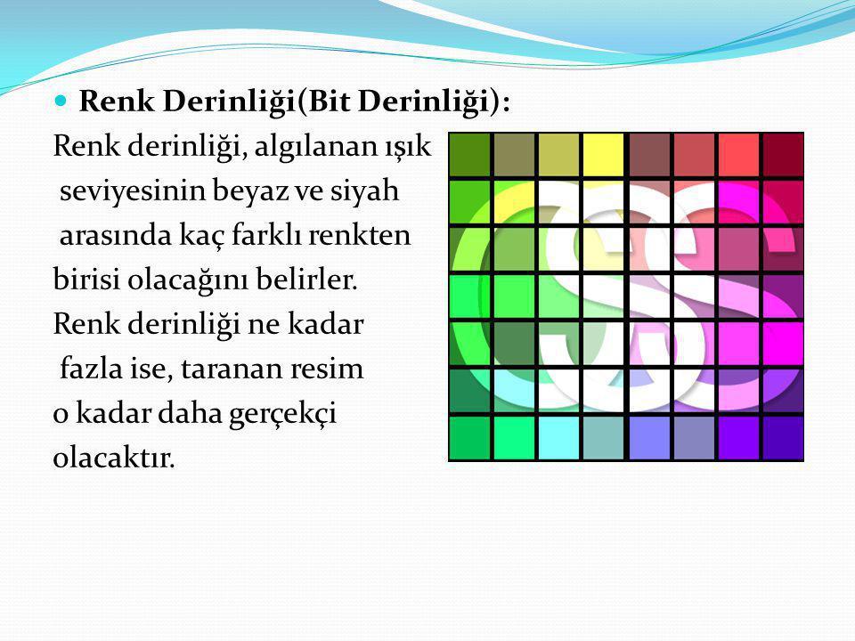 Renk Derinliği(Bit Derinliği):