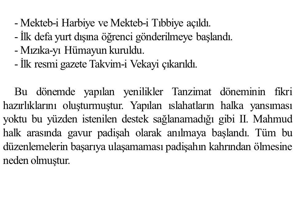 - Mekteb-i Harbiye ve Mekteb-i Tıbbiye açıldı