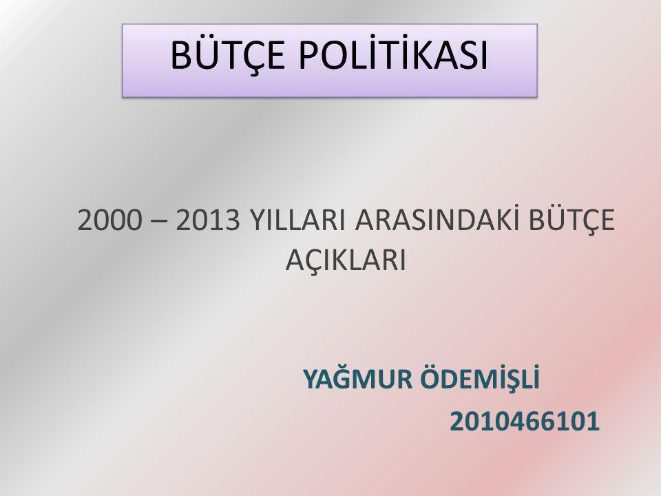 2000 – 2013 YILLARI ARASINDAKİ BÜTÇE AÇIKLARI