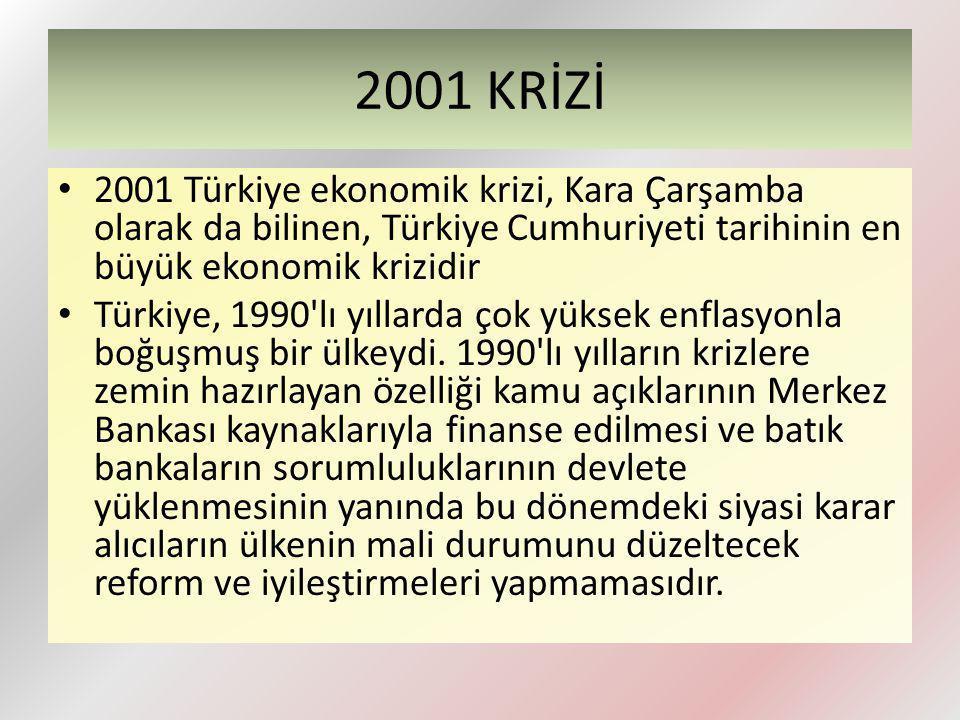 2001 KRİZİ 2001 Türkiye ekonomik krizi, Kara Çarşamba olarak da bilinen, Türkiye Cumhuriyeti tarihinin en büyük ekonomik krizidir.