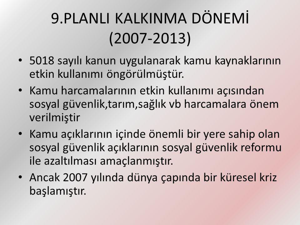 9.PLANLI KALKINMA DÖNEMİ (2007-2013)