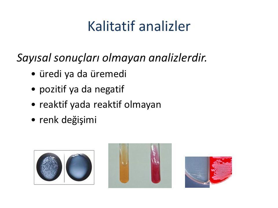 Kalitatif analizler Sayısal sonuçları olmayan analizlerdir.