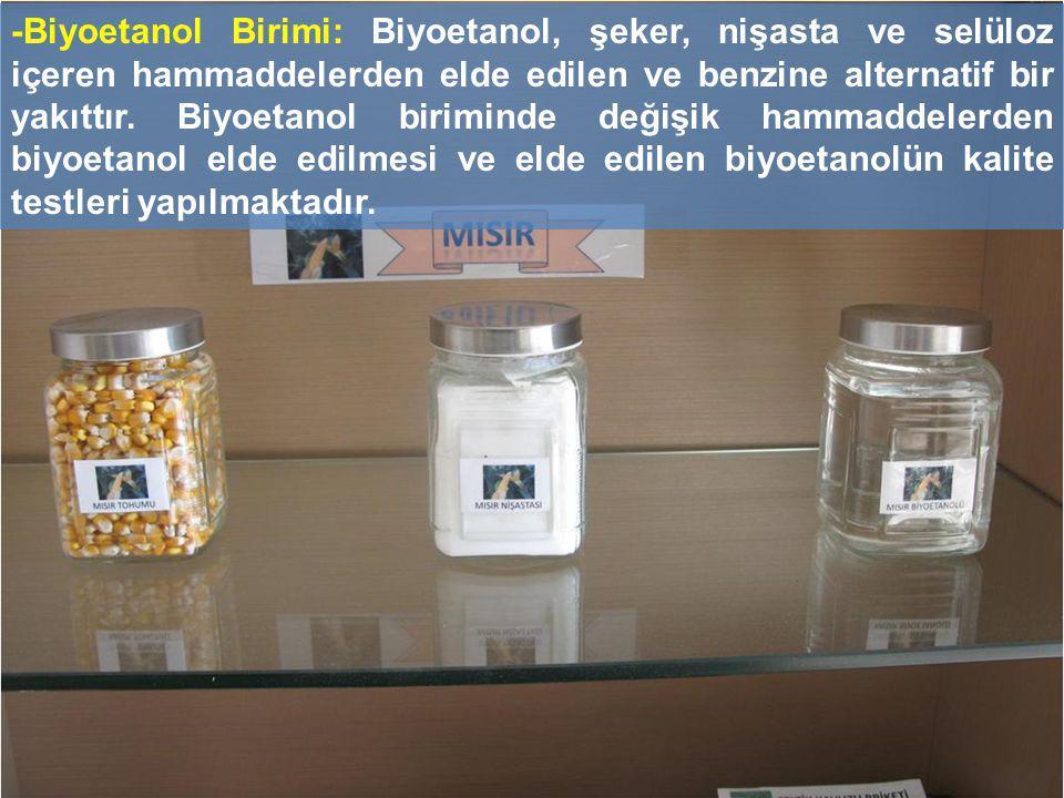 -Biyoetanol Birimi: Biyoetanol, şeker, nişasta ve selüloz içeren hammaddelerden elde edilen ve benzine alternatif bir yakıttır.