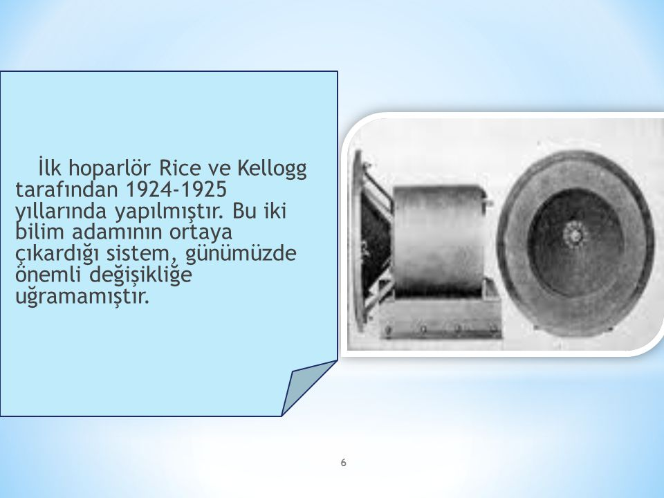 İlk hoparlör Rice ve Kellogg tarafından 1924-1925 yıllarında yapılmıştır.