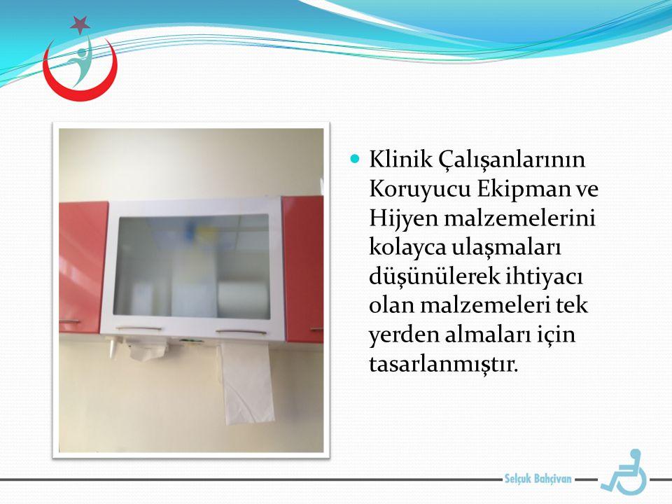 Klinik Çalışanlarının Koruyucu Ekipman ve Hijyen malzemelerini kolayca ulaşmaları düşünülerek ihtiyacı olan malzemeleri tek yerden almaları için tasarlanmıştır.