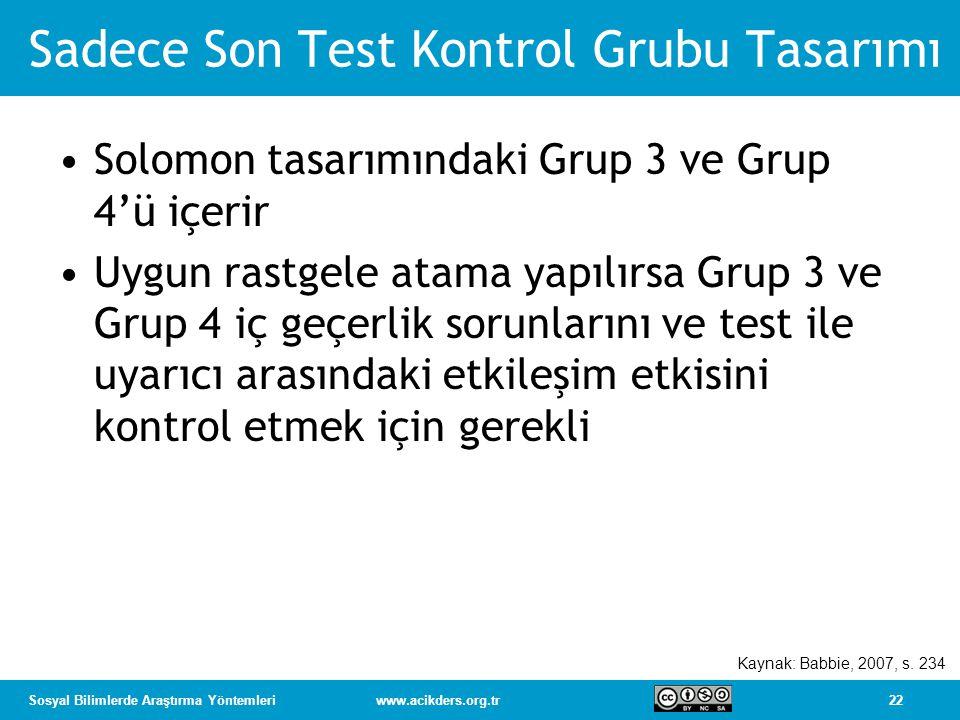Sadece Son Test Kontrol Grubu Tasarımı