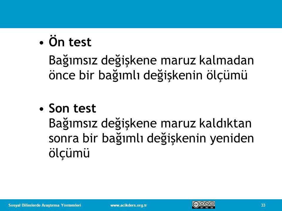 Ön test Bağımsız değişkene maruz kalmadan önce bir bağımlı değişkenin ölçümü.