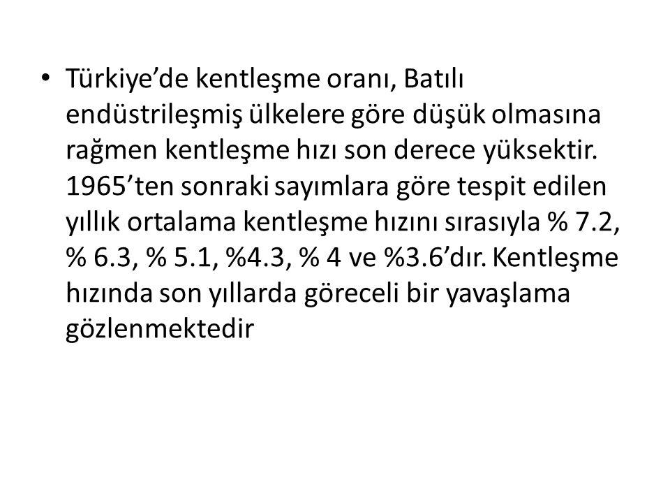 Türkiye'de kentleşme oranı, Batılı endüstrileşmiş ülkelere göre düşük olmasına rağmen kentleşme hızı son derece yüksektir.