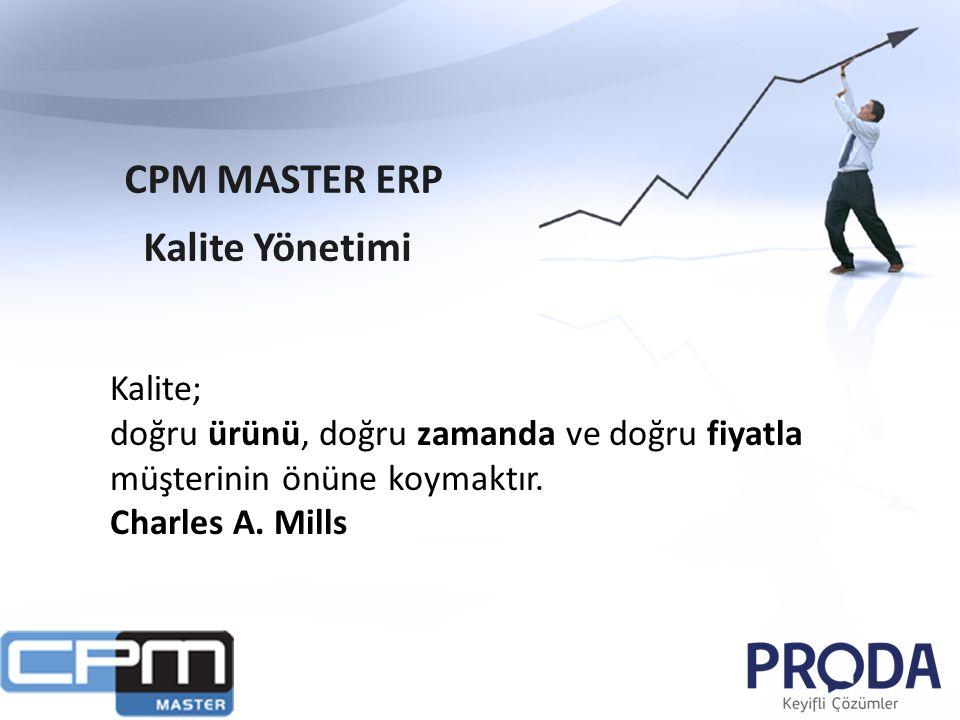 CPM MASTER ERP Kalite Yönetimi