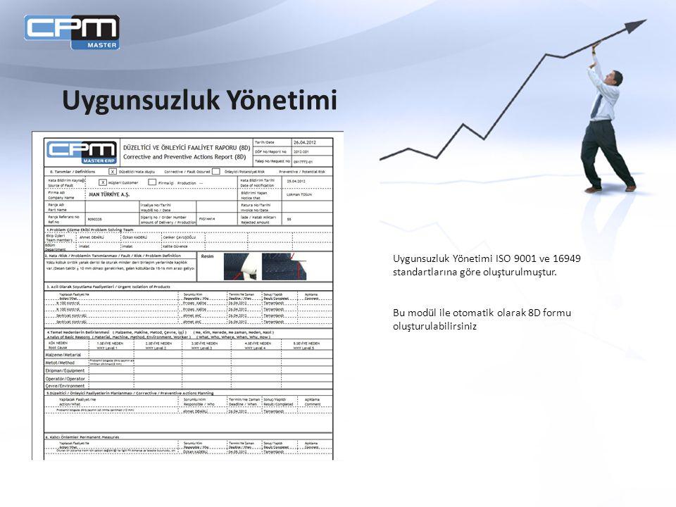 Uygunsuzluk Yönetimi Uygunsuzluk Yönetimi ISO 9001 ve 16949 standartlarına göre oluşturulmuştur.