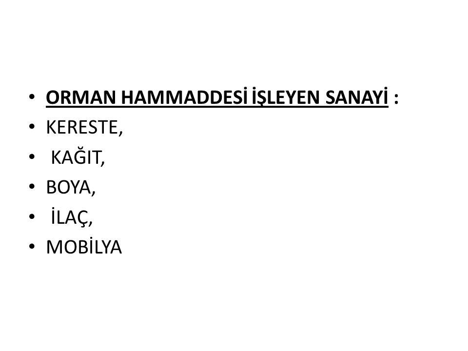 ORMAN HAMMADDESİ İŞLEYEN SANAYİ :