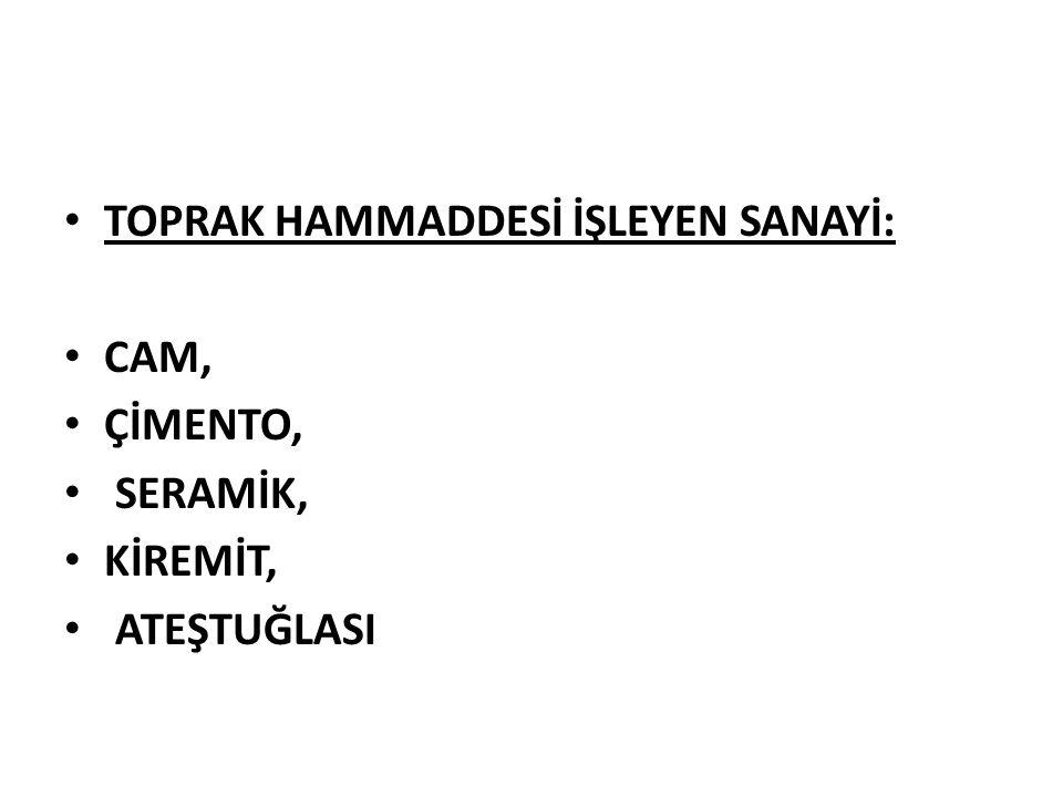 TOPRAK HAMMADDESİ İŞLEYEN SANAYİ:
