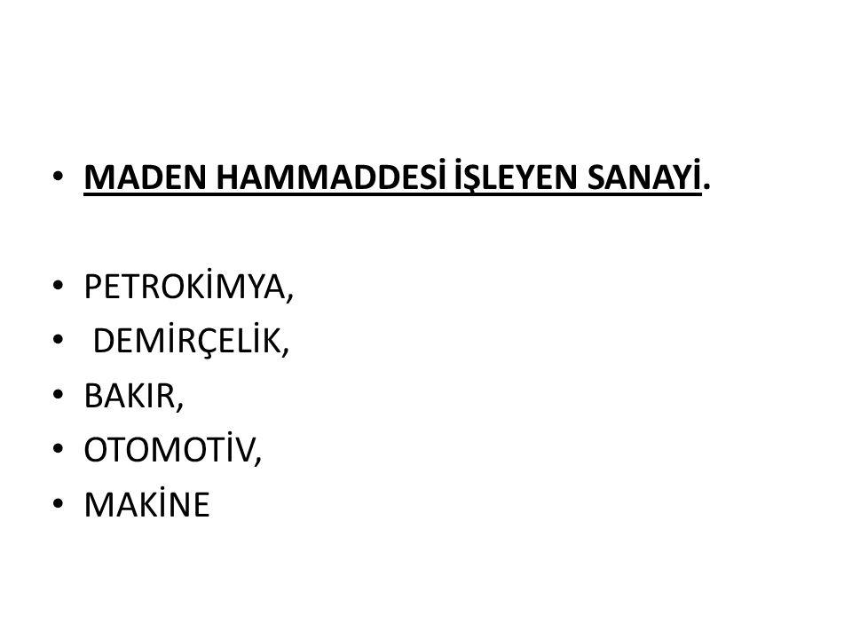 MADEN HAMMADDESİ İŞLEYEN SANAYİ.