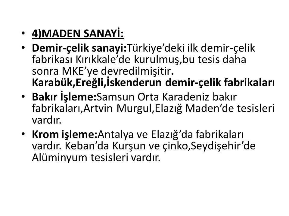 4)MADEN SANAYİ:
