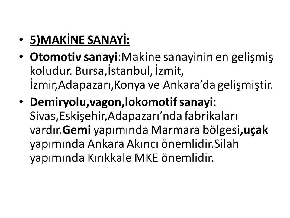 5)MAKİNE SANAYİ: Otomotiv sanayi:Makine sanayinin en gelişmiş koludur. Bursa,İstanbul, İzmit, İzmir,Adapazarı,Konya ve Ankara'da gelişmiştir.