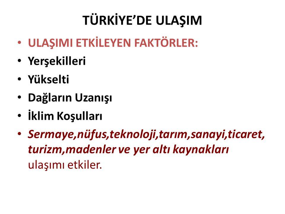 TÜRKİYE'DE ULAŞIM ULAŞIMI ETKİLEYEN FAKTÖRLER: Yerşekilleri Yükselti