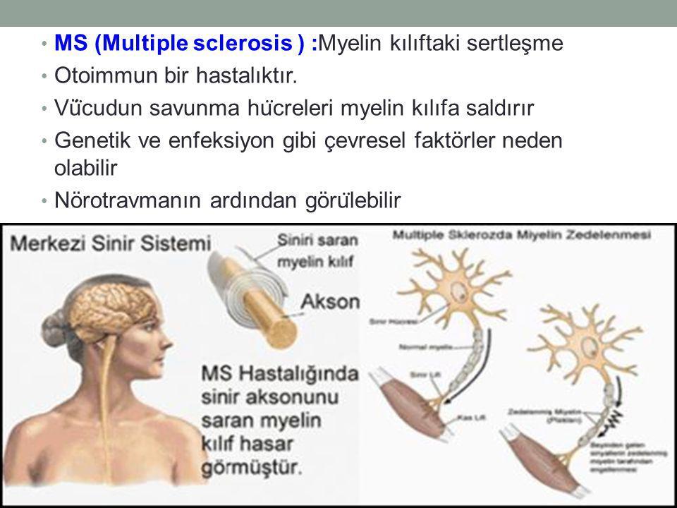 MS (Multiple sclerosis ) :Myelin kılıftaki sertleşme
