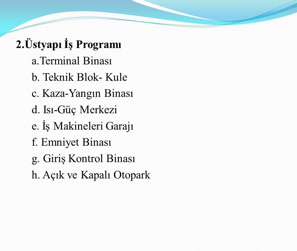 2. Üstyapı İş Programı a. Terminal Binası b. Teknik Blok- Kule c