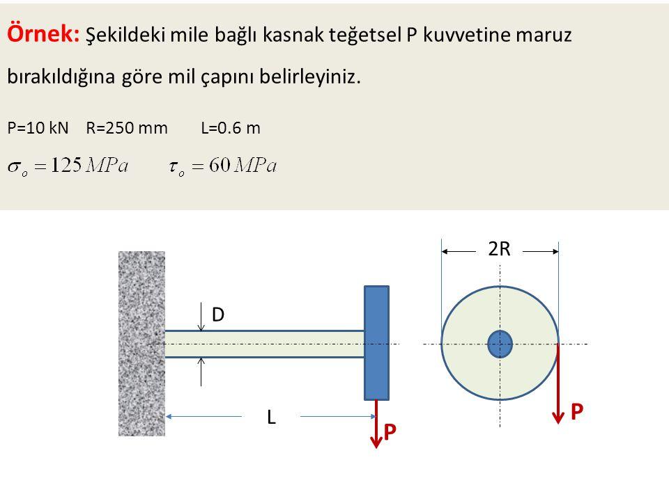 Örnek: Şekildeki mile bağlı kasnak teğetsel P kuvvetine maruz bırakıldığına göre mil çapını belirleyiniz.