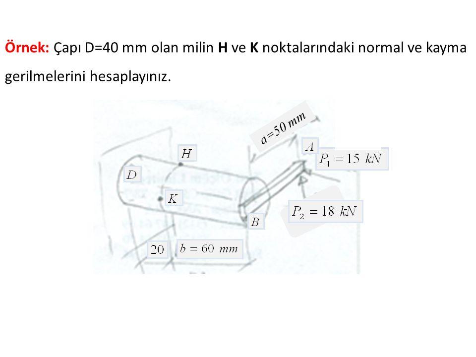 Örnek: Çapı D=40 mm olan milin H ve K noktalarındaki normal ve kayma gerilmelerini hesaplayınız.