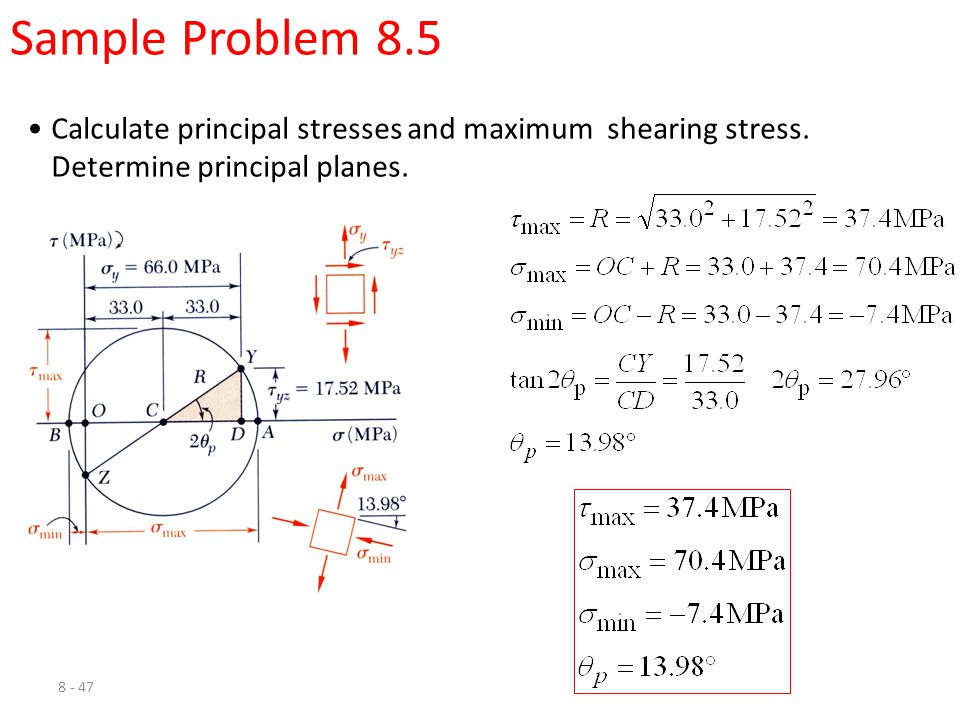 Sample Problem 8.5 Calculate principal stresses and maximum shearing stress.