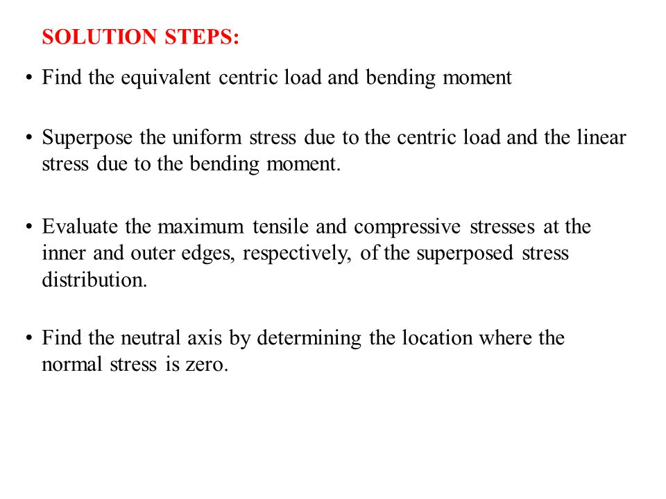 SOLUTION STEPS: Find the equivalent centric load and bending moment.