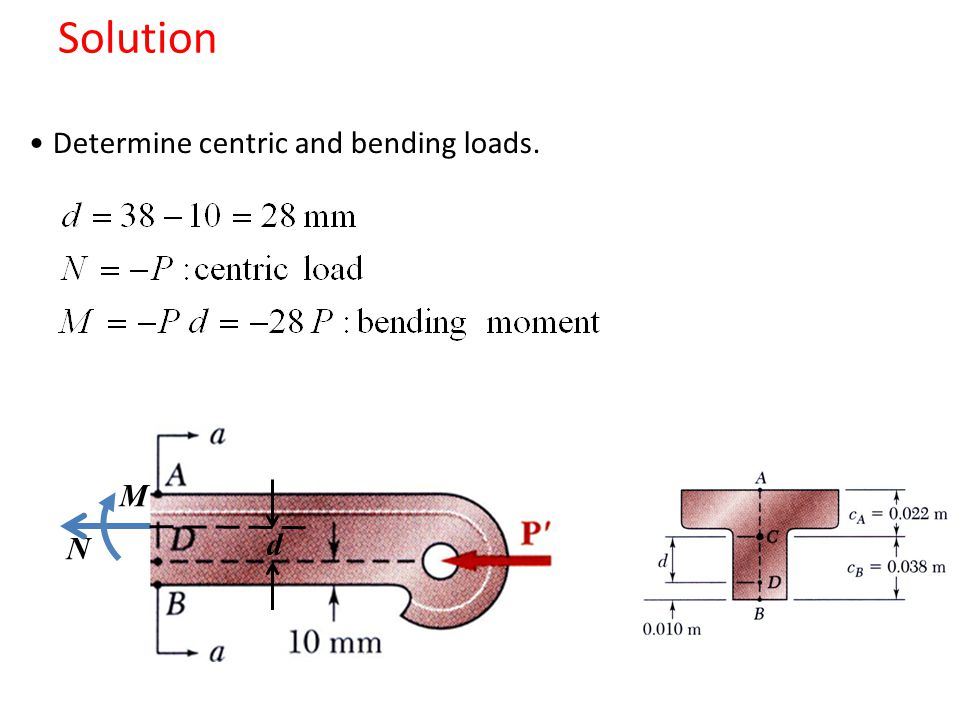 Solution Determine centric and bending loads. M N d