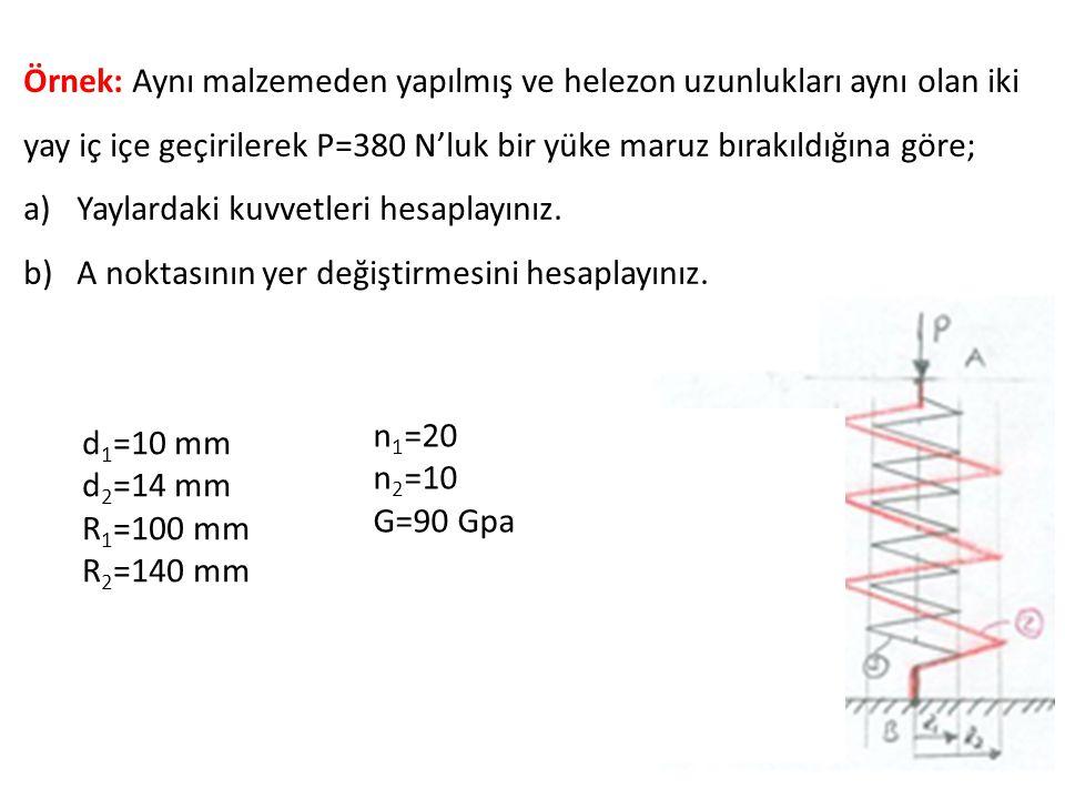 Örnek: Aynı malzemeden yapılmış ve helezon uzunlukları aynı olan iki yay iç içe geçirilerek P=380 N'luk bir yüke maruz bırakıldığına göre;