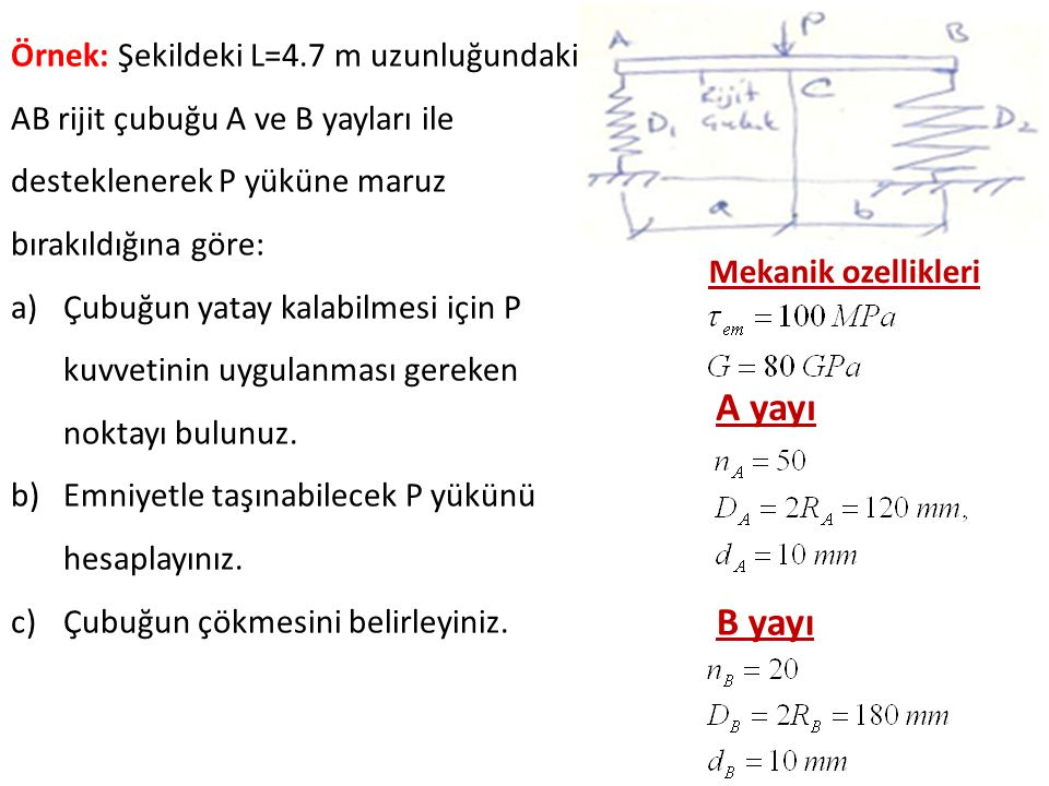 Örnek: Şekildeki L=4.7 m uzunluğundaki AB rijit çubuğu A ve B yayları ile desteklenerek P yüküne maruz bırakıldığına göre: