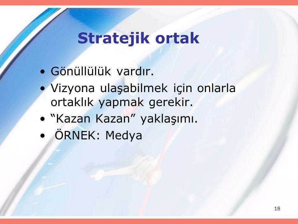 Stratejik ortak Gönüllülük vardır.