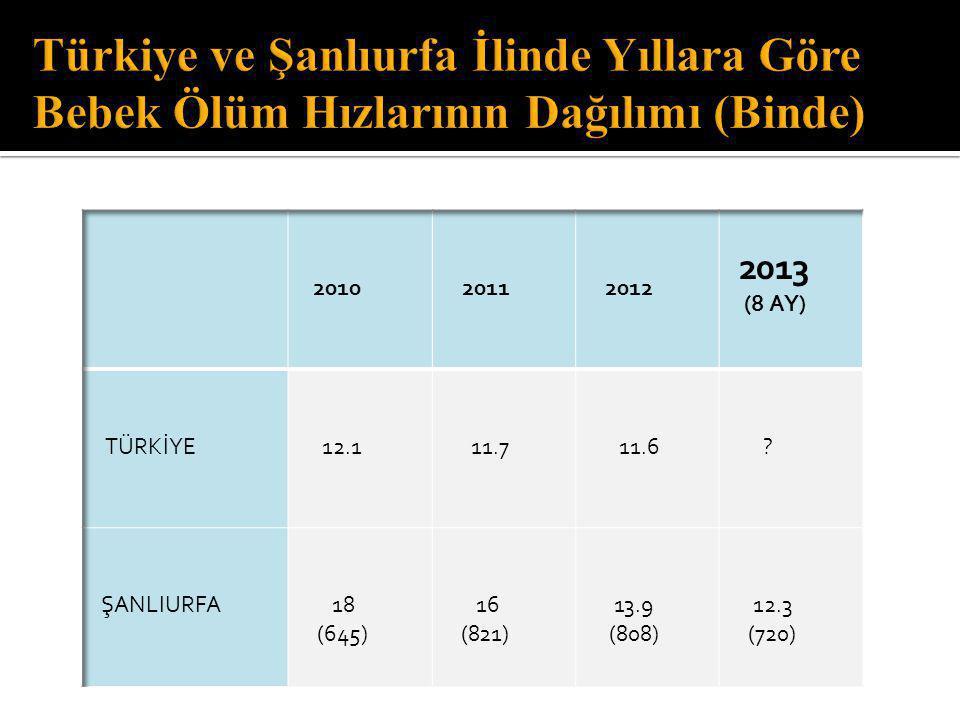 Türkiye ve Şanlıurfa İlinde Yıllara Göre Bebek Ölüm Hızlarının Dağılımı (Binde)