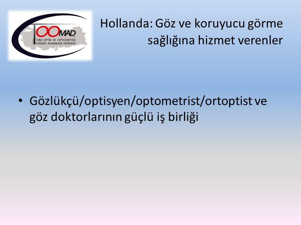 Hollanda: Göz ve koruyucu görme sağlığına hizmet verenler