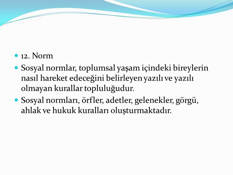 12. Norm Sosyal normlar, toplumsal yaşam içindeki bireylerin nasıl hareket edeceğini belirleyen yazılı ve yazılı olmayan kurallar topluluğudur.