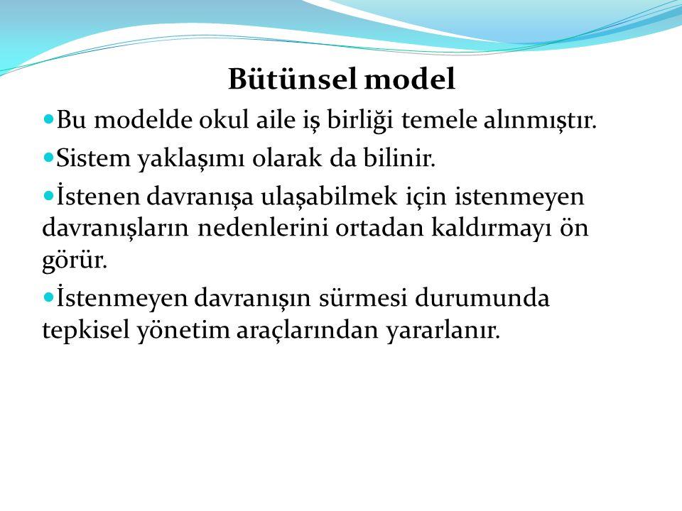 Bütünsel model Bu modelde okul aile iş birliği temele alınmıştır.
