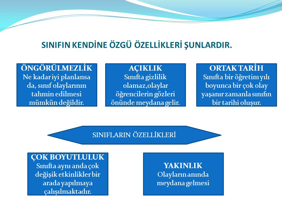 SINIFIN KENDİNE ÖZGÜ ÖZELLİKLERİ ŞUNLARDIR.