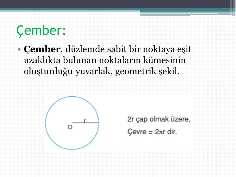 Çember: Çember, düzlemde sabit bir noktaya eşit uzaklıkta bulunan noktaların kümesinin oluşturduğu yuvarlak, geometrik şekil.